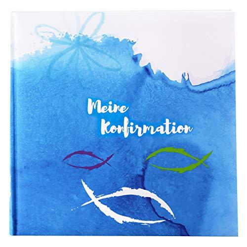 Goldbuch Fotoalbum für die Konfirmation, Mare, 25x25 cm, 60 weiße Seiten, 4 Seiten Textvorspann, Kunstdruck, Weiß/Blau, 03 109