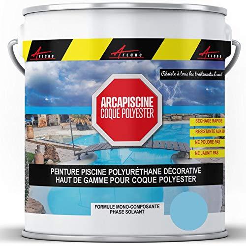 Peinture piscine coque polyester plus résistante qu'une peinture epoxy bassin Polyuréthane - Bleu Piscine - 20 kg (jusqu'à 65m² pour 2 couches) - ARCANE INDUSTRIES