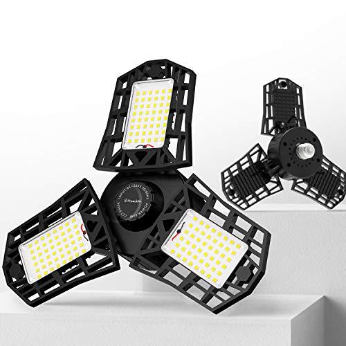 Freelicht 2 Pack LED Garage Light, 60W LED Shop Light with E26/E27 Medium Base, 6000LM Triple LED Garage Lighting, 6500K Screw in LED Tri Light for Attic, Basement