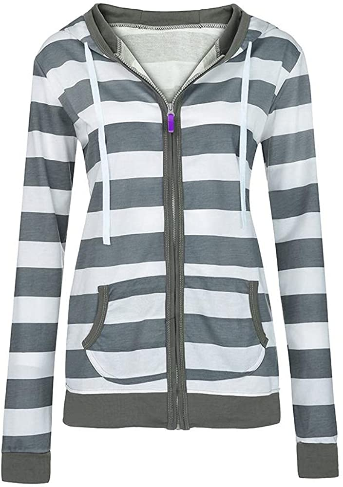 Xinantime Women's Full Zip Cardigan Slim Fit Hooded Sweatshirt White and Black Color Block Sweaters with Pockets Sports Coat