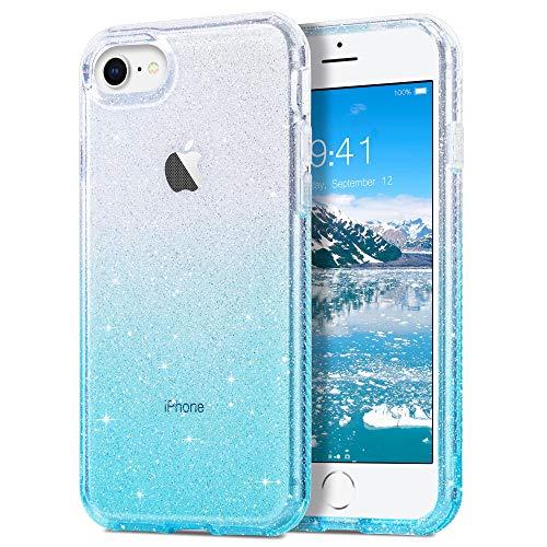 ULAK Custodia per iPhone SE 2020 Glitter, Cover iPhone 8/7 trasparente Cover paraurti Protezione Antiurto in TPU Cover per Apple iPhone SE 2020 / iPhone 8 / iPhone 7 4,7 pollici,Blu