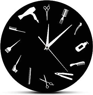 The Geeky Days Barber Equiment Tools Wall Clock Modern Design Barber Shop Business Sign Wall Watch Beauty Hair Salon Clock Hairdresser Gift