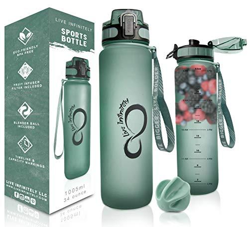 Live Infinitely Trinkflasche mit Zeitmarkierung, Fruchtsieb & Shaker, Mischkugel – verschließbarer Klappdeckel & langlebige gummierte Flaschenbeschichtung, smaragdgrün, 34 Ounce