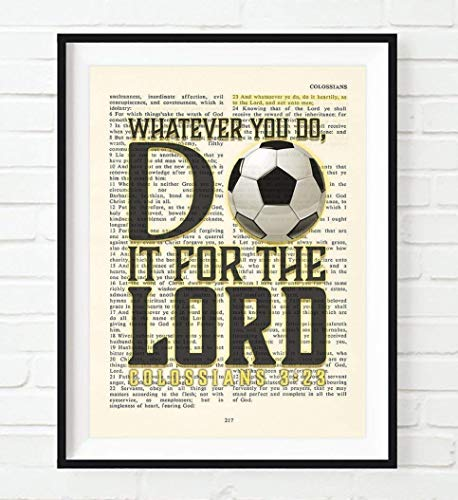 Whatever You Do, Do It For the Lord, Colossians 3:23, Vintage Bible Verse Wall Christian Art Print, Unframed, Soccer Art, Boys Room, Girls Room Poster, Christmas Gift, 8x10 Inches