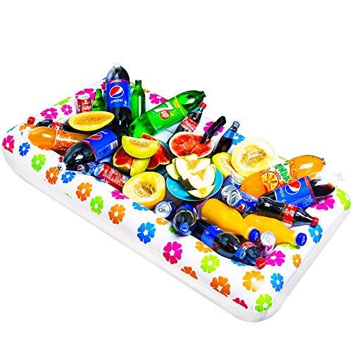 Chuzy Cef - Mesa inflable - Bandeja de buffet grande con tapón de drenaje - Mantiene frías las ensaladas y bebidas - usa accesorios de barra para eventos en interiores y exteriores