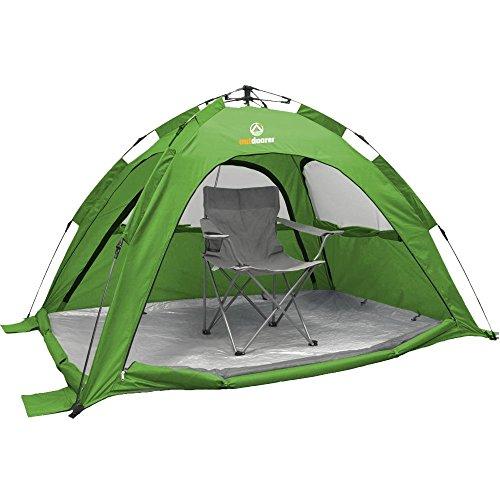Outdoorer SunSnapper groen - de automatische strandtent met UV80 UV-bescherming; 3 ramen en 4 deuren
