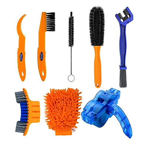 Ciaopangor 8pcs Bike Clean Brush Kit,Bicycle Cleaner Tools Set for Mountain Bike, Road Bike, City Bike,BMX, Folding Bike etc