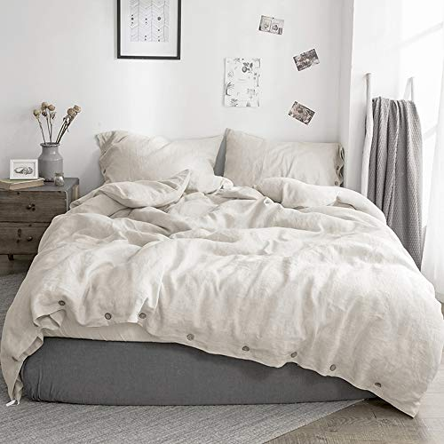 Simple&Opulence 100% Washed Linen Duvet Cover Set-3 Pieces Solid Color Flax Bedding Set(1 Duvet Cover and 2 Pillowcases)-Farmhouse Comforter Set with Coconut Button Closure (King, Natural Linen)