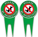 Art Wall Decor Two No Poop Dog Signs | Stop Dogs from Pooping On Your Lawn | Sign Politely Reads: Please Be Respectful | Protect Your Property! (No Pooping Bundle of 2) Vintage Signs Aluminum Plates