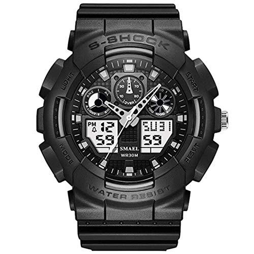 SMAELBand Digitale Militäruhr Light S Shock Herrenuhr wasserdichte 30m LED Uhr Blaue Sportuhren für Herren,Black