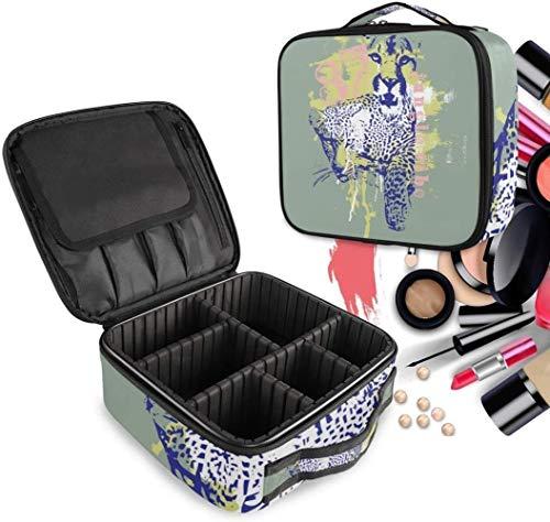 Cosmétique HZYDD Aquarelle Abstraite Leopard Make Up Bag Trousse de Toilette Zipper Sacs de Maquillage Organisateur Poche for Compartiment Femmes Filles Gratuit