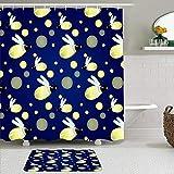 Ensemble de rideaux et tapis de douche en tissu,Modèle de dessin animé mignon luciole bleue avec insectes lucioles dessinés,Rideaux de bain imperméables avec 12 crochets,tapis antidérapants
