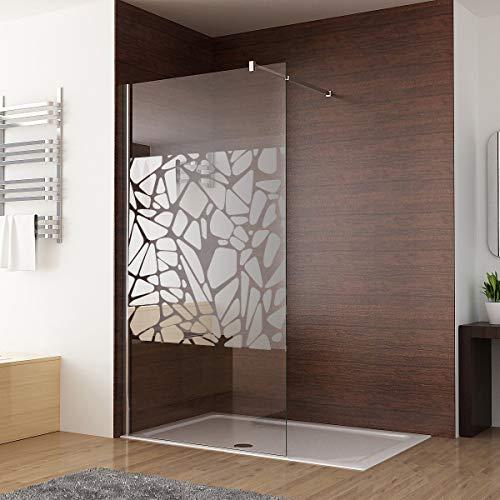 Walk in Dusche Duschwand 90 x 195cm Duschtrennwand Duschabtrennung 8mm ESG NANO Glas mit schutzfolie