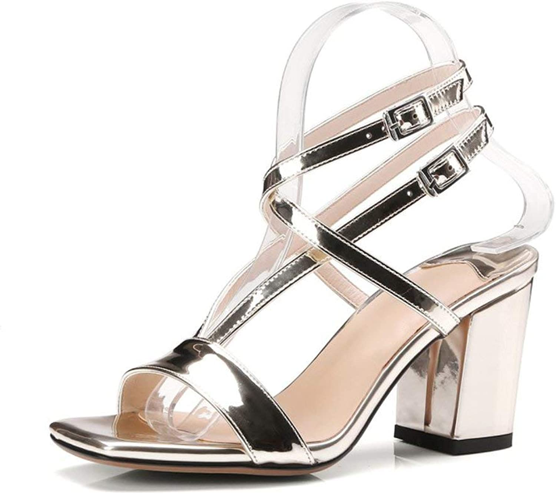 Eeayyygch Schuhe 8cm 8cm 8cm Gold, Rough Heel Sandalen, Sommer Open-Toe High Heels, Wort Schnalle mit Wild Sexy (Farbe   Gold8cm, Größe   34 EU)  413165