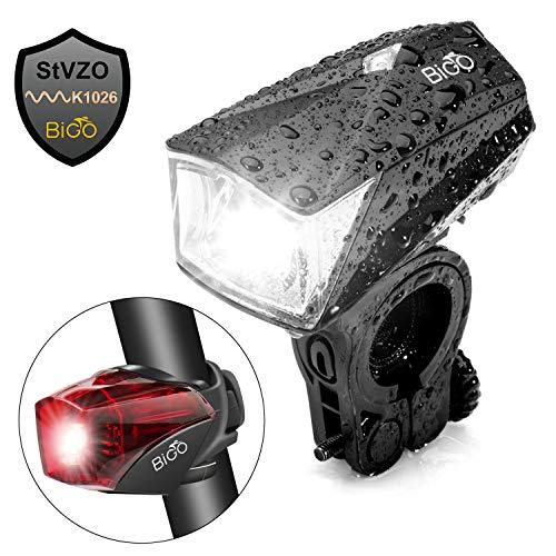 BIGO LED Fahrradbeleuchtung, StVZO Zugelassen Fahrradlicht USB Wiederaufladbere Wasserdicht Fahrradlichter Fahrradlampen Frontlicht, 1200mAH, Starkes/Schwaches Licht Fahrradleuchte