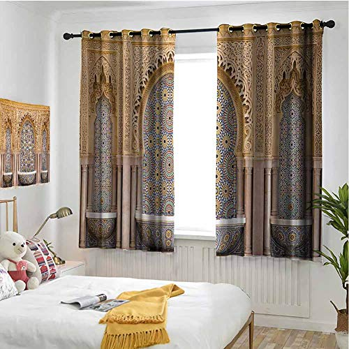 hengshu Moroccan Room Darkened Insulation Grommet Curtain Typical Moroccan Tiled Fountain in The City of Rabat Near Hassan Tower Living Room W63 x L63 Inch Apricot Pale Brown