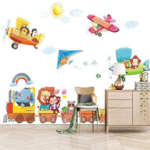 SJKstore Mural 3D Dibujos animados, avión, animal 350x256CM Mural, extraíble, autoadhesivo, decoración del hogar de bricolaje, utilizado para sala de estar, dormitorio, pasillo, pared de fondo de TV
