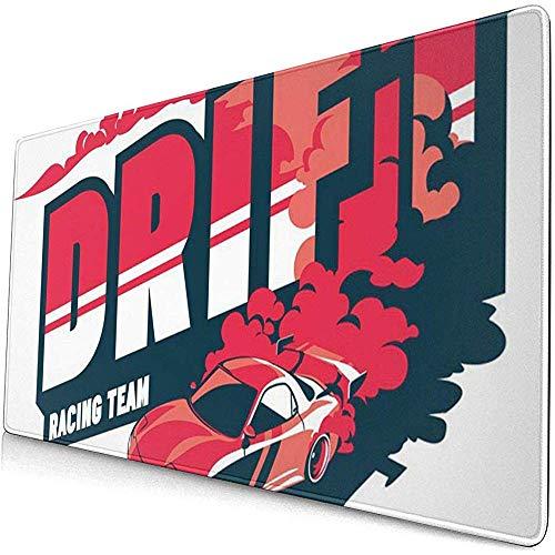 Gaming Extended Mouse Pads mit Rutschfester Gummibasis Smoke Burnout Car Japanisches Drift Sport Street Racing Team 30X80 cm