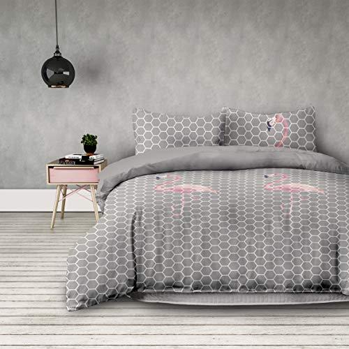 AmeliaHome 3tlg Bettwäsche 200x200 cm mit 2 Kissenbezügen 80x80 cm geometrisches Muster Microfaser Reißverschluss Basic Collection Flamingo Light grau rosa