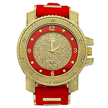 Totally Iced Out Cz Techno Pave Gold Tone Red Band Over Sized Hip Hop Men s Bling Bling Watch Watches