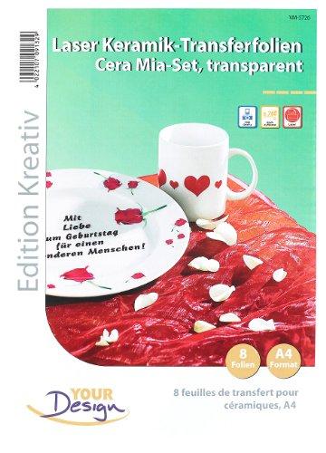 Your Design Keramikfolie: 8 Cera Mia Keramik-Transferfolien DIN A4 transparent für Laserdrucker (Tassen selbst bedrucken Folie)