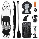 LMYDIDO Tabla de surf de remo hinchable de 10,6 pulgadas, con remo ajustable, kit de conversión de kayak con todos los accesorios (negro con asiento)