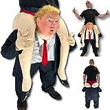 Rubber Johnnies Disfraz de Donald Trump Ride On Me, para adultos, para llevar hacia atrás, divertido disfraz de mascota de Donald Trump, presidente de Estados Unidos, despedida de soltero