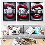 3 UNIDS Resumen Labios Rojos Maquillaje Mujer Mordiendo Dólares Sangre Dinero Salón de Belleza Lienzo Pintura Arte de la Pared Poster Impresiones Sala de estar Oficina Estudio Decoración par