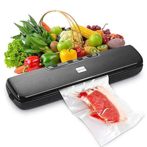 Vakuumierer, Leegoal Vakuumiergerät mit 5 Abdichtungstemperatur-Modi, Trocken- und Feuchtemodus und 15 BPA-freie Beutel für Lebensmittel, Snacks, Wertsachen, Vakuumaufbewahrung