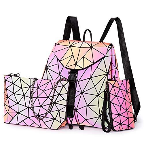LOVEVOOK Geometrische Taschen Set, Holographic 3pcs Rucksack Umhängetasche Geldbörse Set, Leuchtende Daypack Crossbody Bag Handytasche für Damen Mädchen Rot