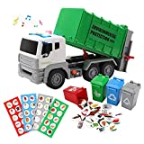 12' Garbage Truck Toys Trash Truck Dump Truck with Sound and Light, Friction Powered Truck with 4 Garbage Cans, Push and Go Pull Back Car for Boys