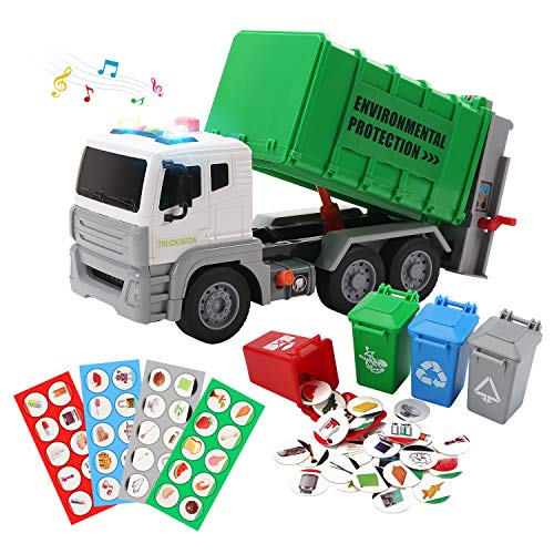 """12"""" Garbage Truck Toys Friction Powered Dump Truck with Sound and Light Trash Truck with 4 Garbage Cans Push and Go Pull Back Car for Boys"""