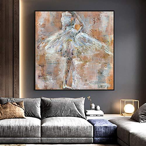 wZUN Pintura al óleo sobre Lienzo Abstracta Bailarina Arte de la Pared Pintura Retro Minimalista Cartel Artista decoración del hogar 60x60 Sin Marco