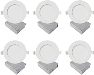 6 Inch Ultra Thin LED Downlights, 12W 1050 Lumens 5000K Daylight Dimmable 120V 100W Eqv. ETL and Energy Star Certified Can-Killer Retrofit Recessed Ceiling Lights with Junction Box, 6 Pack
