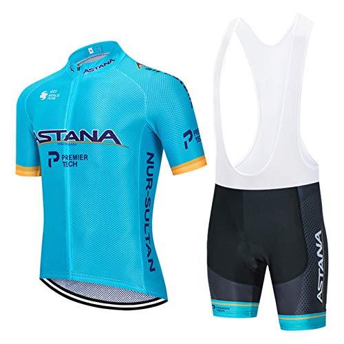 5D Gel Pad Pantalones +Ciclismo Maillot, Hombres Jersey Mangas Cortas de Ciclismo Ropa Transpirable para Deportes al Aire Libre Ciclo Bicicleta