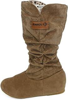 comprar comparacion Botas Alto Invierno Mujeres, LANSKIRT Mujer Botas Altas hasta la Rodilla Bota de Tacón Plano Zapatos de Otoño Invierno Zap...