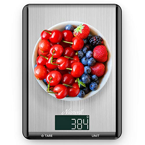 Food Scale  Nicewell Kitchen Scale Digital Food Weight Grams and oz Cooking Baking Max 22lb/10kg 01oz 1g Accuracy Sleek Stainless Steel Panel Easy to Clean