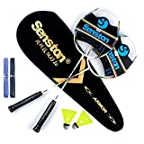 Senston 2 Pieces Badminton Set, Lightweight Graphite Shaft Badminton Racket Including Premium Badminton Bag, 2 Badminton Shuttlecock, 2 Racquet Grip