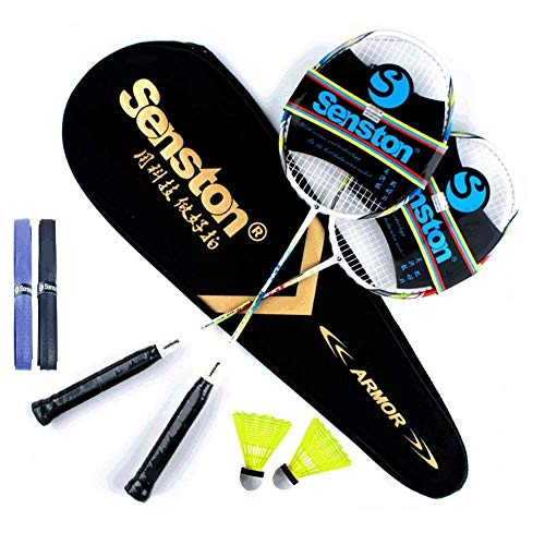Senston Graphite Shaft Raquette de Badminton, Badminton Racket Set, comme Le Badminton Sac, Lot de 2