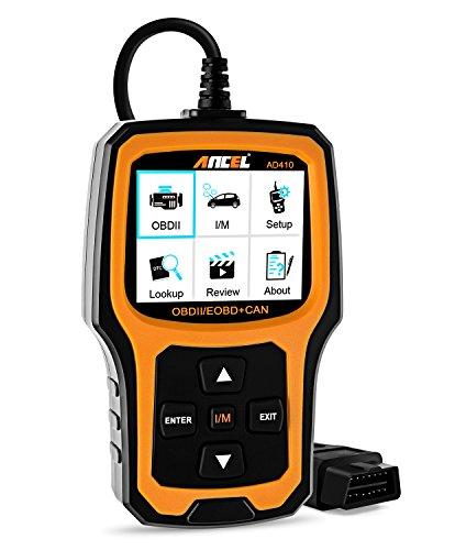 ANCEL AD410 OBD II Lector de Código Automotor Vehículo Comprobar Luz del Motor Herramienta de Exploración Auto OBD2 Escáner con I/M Preparación (Negro - Naranja)