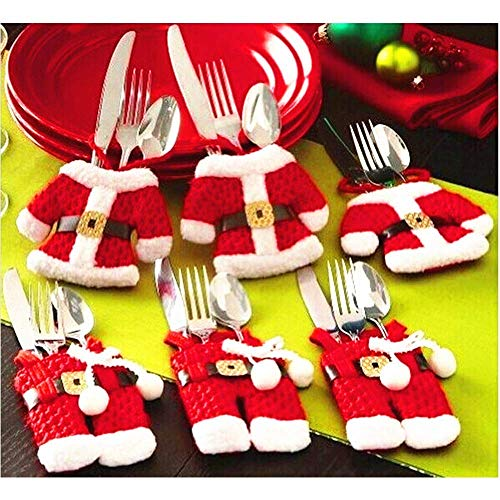 MSQ Christmas Decorations Table Decorations 4pcs Christmas Knife and Fork Covers Red Christmas Snowman Pants Xmas Party Dinner Novelty Decorations Best for Thanksgiving Day/Christmas