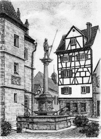 Kunstverlag Christoph Falk Einfarbige Radierung Weißenburg, Schweppermann-Brunnen als Loses Blatt