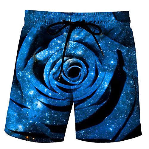 LYWZX Bañador Hombre Pantalones Cortos De Natación para Hombre Tronco De Natación Masculino 3D Impresión Flor Gráfico Suelto Rápido Secado Summer Beach Shorts Surfing Trunks Beach Trunk S
