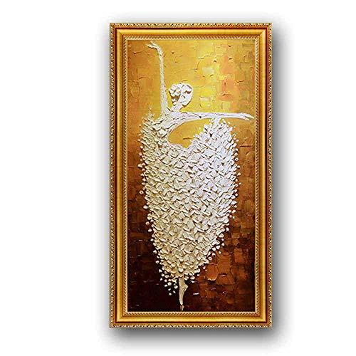 ZTBXQ Décorations Quotidiennes Murale Européenne Mur Art Pur Peint À La Main Abstraite Ballet Peinture À l'huile De Haute Qualité Cadre Photo Salon Porche Restaurant Peinture Décorative