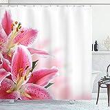 ABAKUHAUS Pink & Weiß Duschvorhang, Lilien Blumenstrauß, Leicht zu pflegener Stoff mit 12 Haken Wasserdicht Farbfest Bakterie Resistent, 175 x 200 cm, Rosa Orange grün