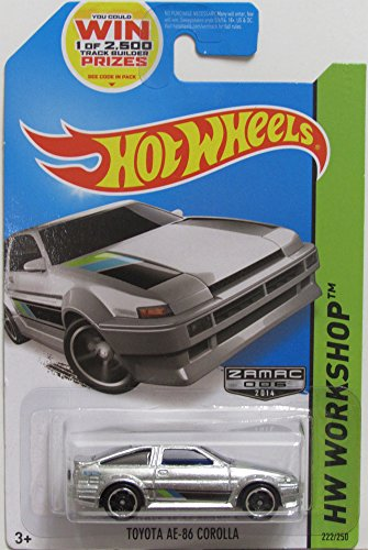 COROLLA AE-86 Hot Wheels ZAMAC HW-Workshop Series Toyota AE-86 Corolla RARE 1:64 Scale Collectible Die Cast Metal Toy Car Model # 222/250