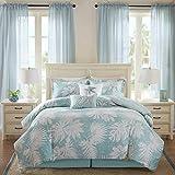 Harbor House Cozy Cotton Comforter Set-Coastal All Season Down Alternative Casual Bedding with Matching Shams, Decorative Pillows, King(110'x96'), Grove, Palm Leaf Blue 6 Piece