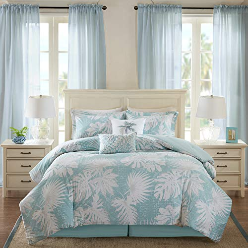 Harbor House Cozy Cotton Comforter Set-Coastal All Season Down Alternative Casual Bedding with Matching Shams, Decorative Pillows, King(110u0022x96u0022), Grove, Palm Leaf Blue
