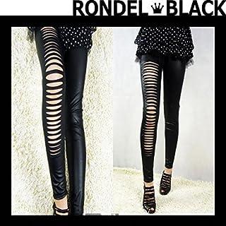 [RONDEL-BLACK(ロンデルブラック)] フェイクレザー調 穴あき ダメージ レギンス 10分丈 黒 ブラック 無地 合皮