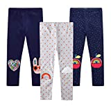 EmaoFun Leggings para Niñas Chicas Estampado, Stretch Pantalón para 2-7 Años(Apple5T)